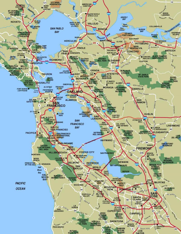 Carte De La Région De San Francisco Villes Carte De La